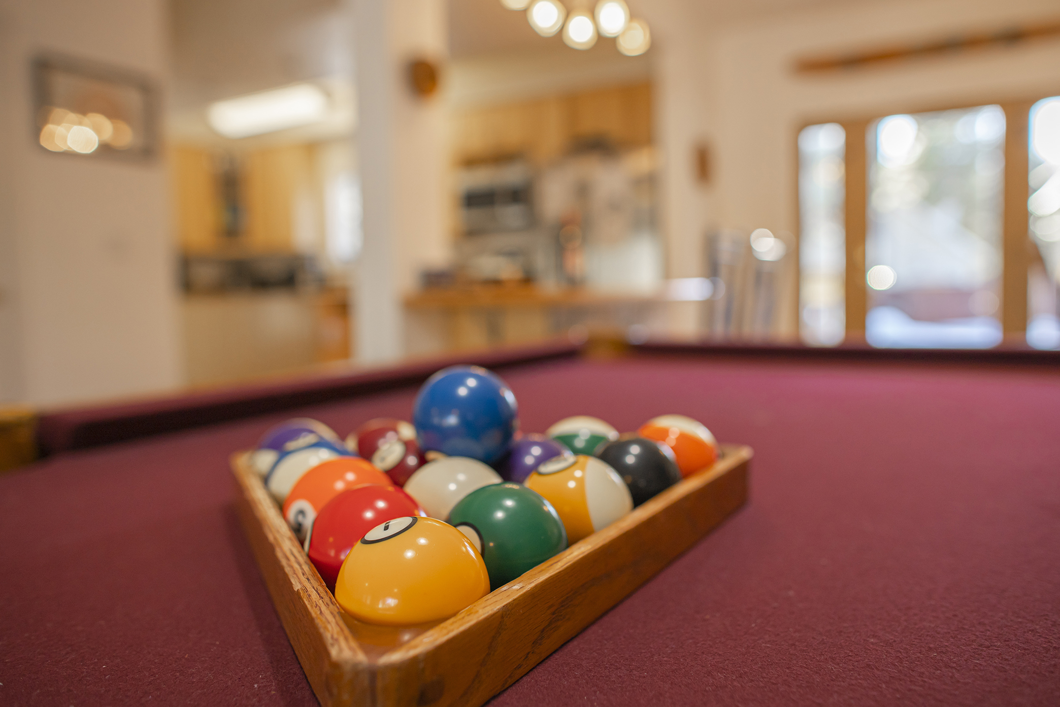 Close up of pool table